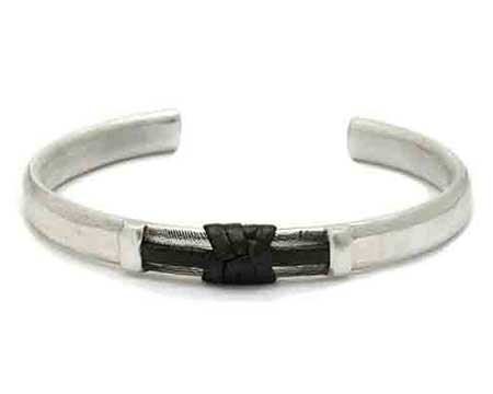 Contrasting Two Tone Silver Mens Bracelet UK