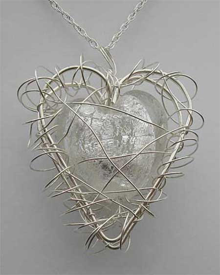 White Caged Heart Silver Necklace UK
