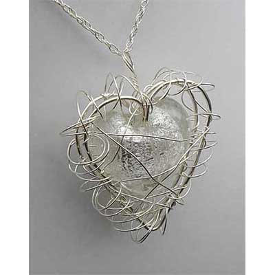 Silver White Caged Heart Necklace UK